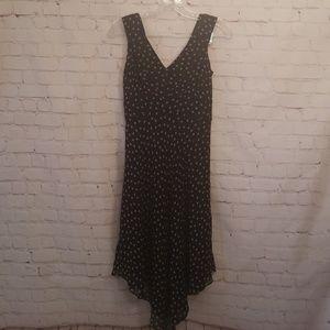 I.N.C 100% Silk Black W/ Tan Polka Dot Lined Dress